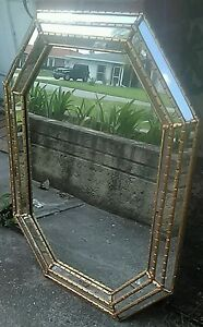 VTG-Venetian-034-Labarge-034-Octagon-Gilt-Bevelled-Wall-Mirror-Italy