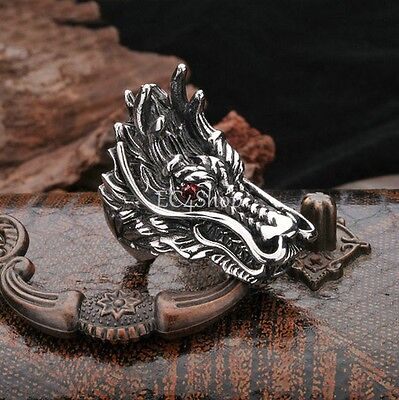 Men's Punk Gothic Biker Stainless Steel Dragon Head Red CZ Crystal Eye Ring Band