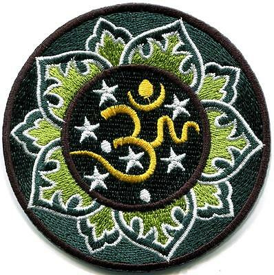 Hindu aum om infinity lotus retro yoga trance applique iron-on patch new S-1103