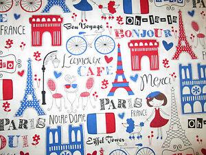 RETRO-PARIS-EIFFEL-TOWER-FRANCE-BLUE-RED-COTTON-FABRIC-FQ