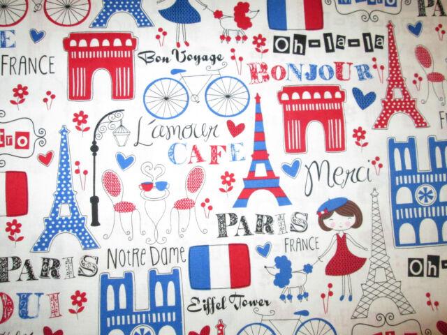 RETRO PARIS EIFFEL TOWER FRANCE BLUE RED COTTON FABRIC FQ