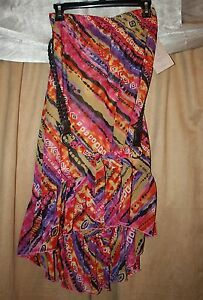 Womans-Size-S-Small-Multi-Colored-Skirt-w-Belt-Ruffle-Hem-Elastic-Waist-NEW