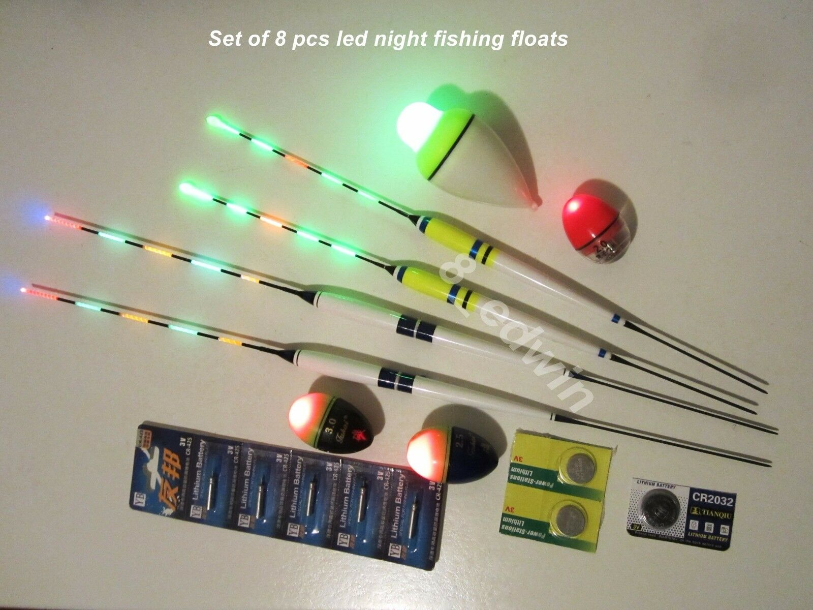 Anglers' Favor 8 Pcs LED Luminous Ocean Night Multi Fishing Float +11 Batteries