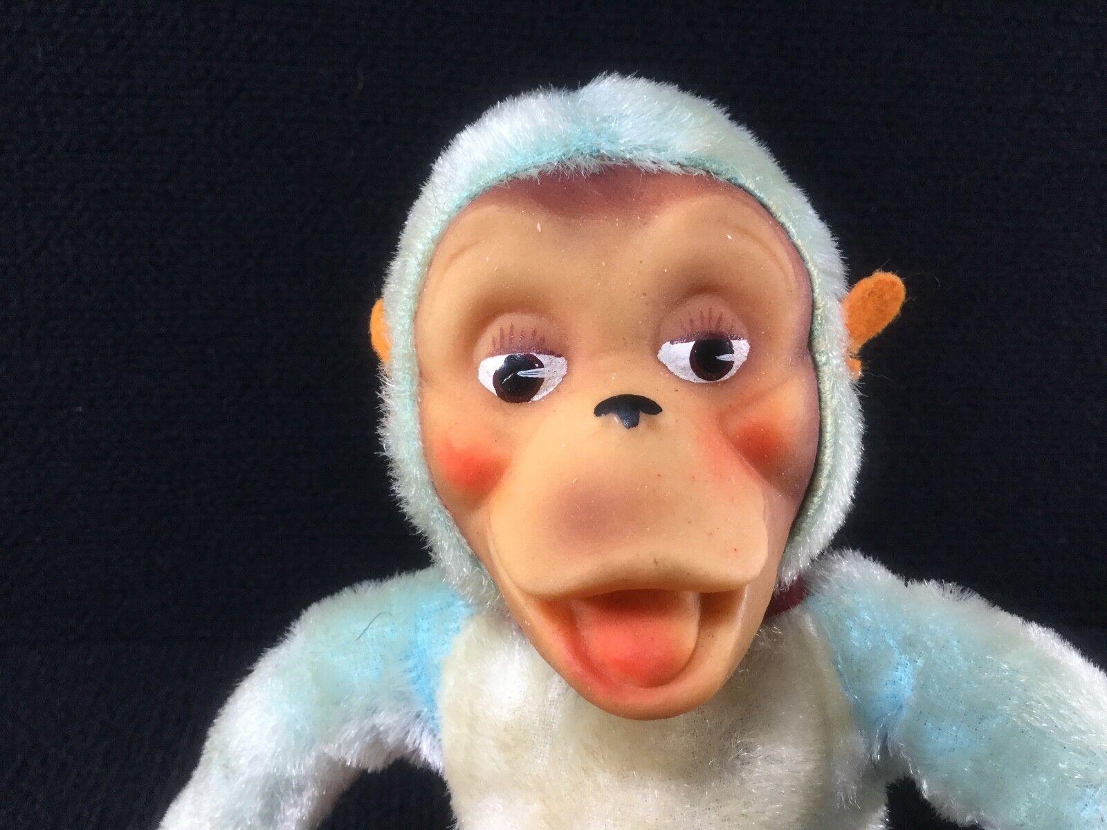 blå MOHAIR JESTIA PLUSH MONKEY japan W URSPRUNGSKOLLER RUBBER Face