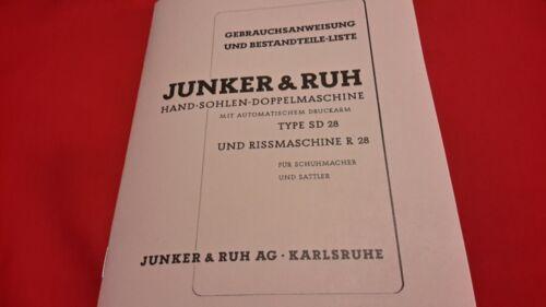Anleitungs copi FÜR die DURCHNÄHMASC JUNKER /& RUH  SD  28