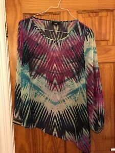 Stunning-Wallis-Multi-coloured-Tunic-Top-Blouse-with-Detailing-Size-18