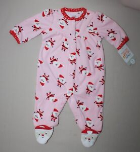 3019b308cf0f 3 Month Carters Pink Fleece Christmas Sleeper Santa Claus Footed ...