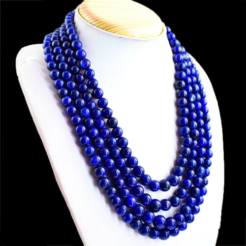986.00 Cts Earth Mined 4 Strand Blue Sapphire Round Shape Beads Necklace NK41E25