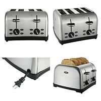 Stainless Steel 4 Slice Toaster Wide Slot Four Slice Toaster Retracted Cord