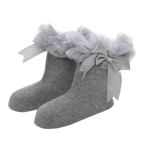 Baby Princess Infant Bowknot Lace Girls Trim Ruffle Ankle Frilly Kids Sock Socks