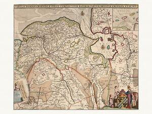 Old Antique Decorative Map of Groningen Netherlands de Wit ca. 1682