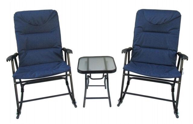 3pcs Patio Rocking Chair Set All