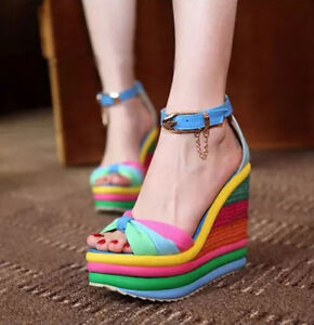 d45f33e57f8a Image is loading Sexy-Womens-Straw-Braid-Wedges-Chic-Sandals-rainbow-