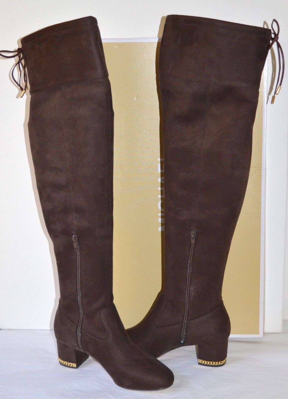 b7cc5c6ce7c Michael Kors Jamie Mid BOOTS Stretch Suede Tall Coffee Brown Over Knee for  sale online