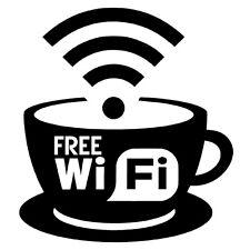 Free WiFi Cup Coffee Internet Sign Cafe Bar Club Office Shop Window Sticker x1