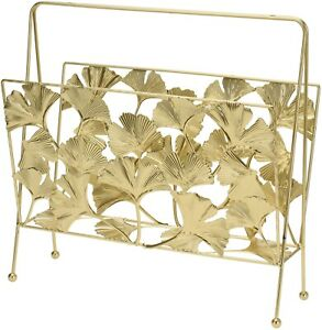 Large-Gold-Metal-Magazine-Rack-With-A-Floral-Design-36cm-Width