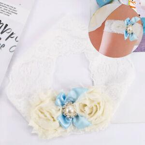 Charm-White-Lace-Bridal-Garter-Blue-Satin-Pearl-Bowknot-Rhinestone-Decor-Garter