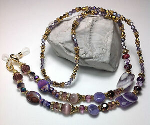 Handmade Stone Eyeglass Chain//Lanyard W//Swarovski Elements /& Lampwork Glass USA