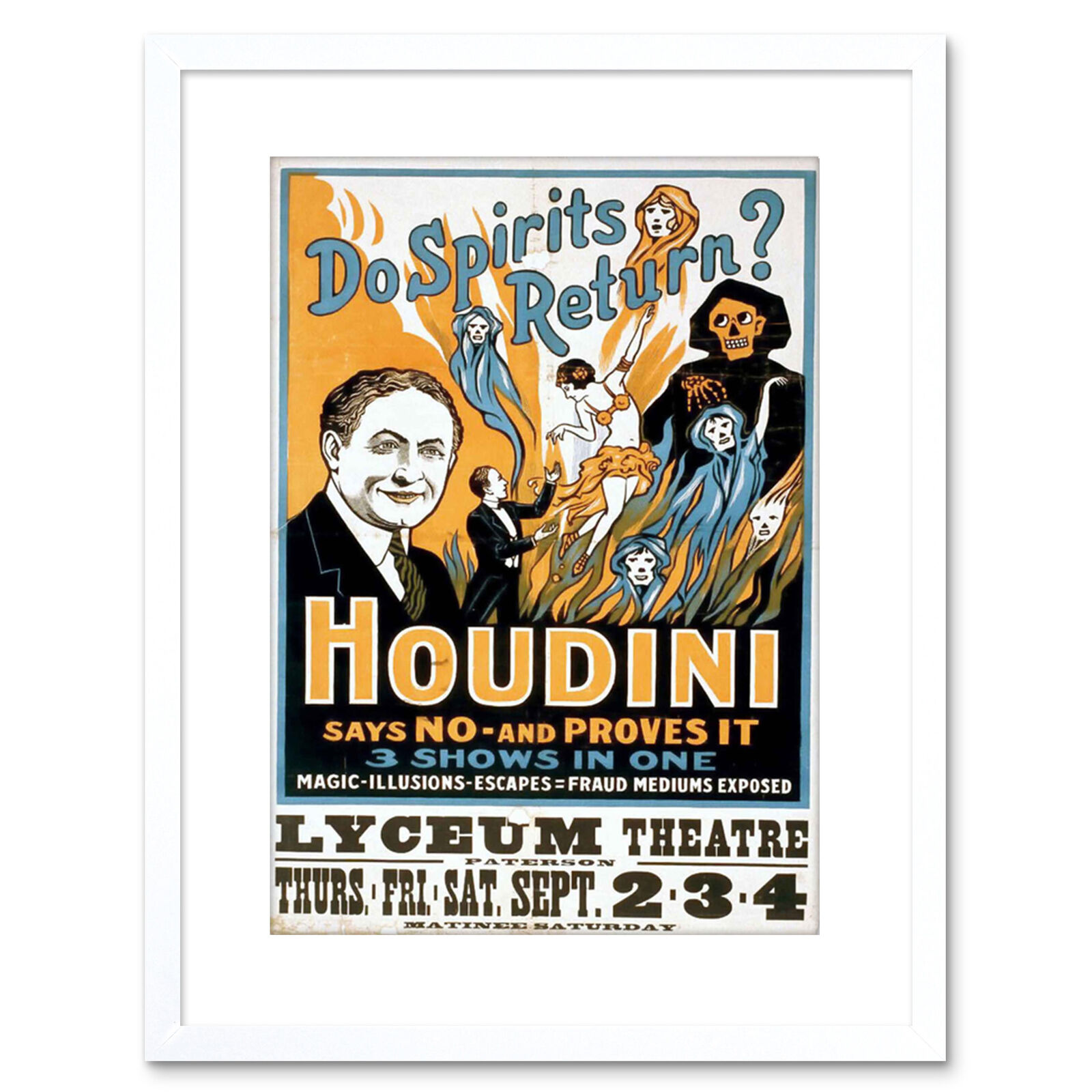 Harry Houdini Vintage 1916 Magician Poster Rolled Canvas Giclee Print 17x32 in.