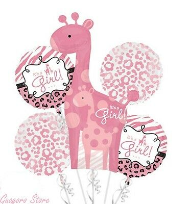 Baby Shower It's a Girl Balloon Bouquet 5pcs Safari Aminals Giraffe party supply