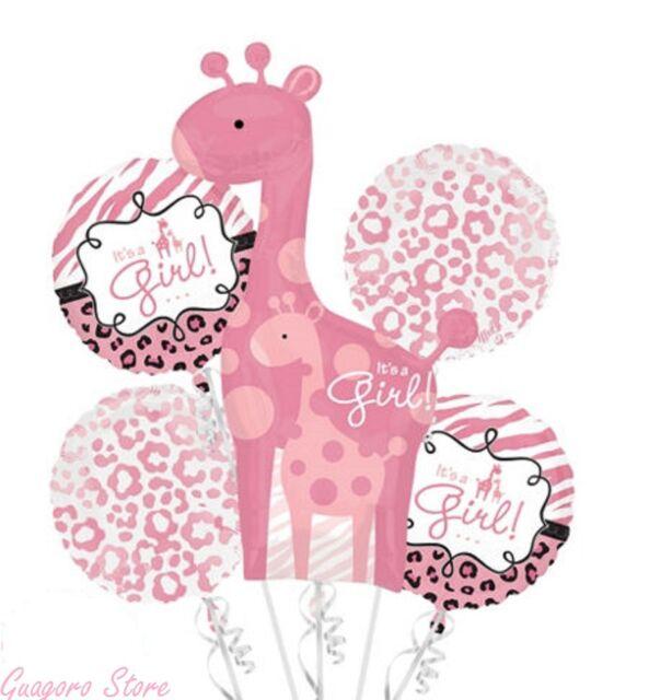 Baby Shower It's a Girl Balloon Bouquet 5pcs Safari Aminals Giraffe party supply