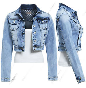 NEW-DENIM-JACKET-Women-Jeans-Stretch-Jackets-Distressed-Blue-Size-8-10-12-14