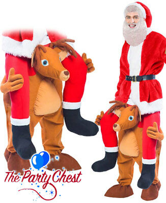 Deluxe Santa Ridin Reindeer Costume Christmas Rudolph Adult Funny Fancy Dress