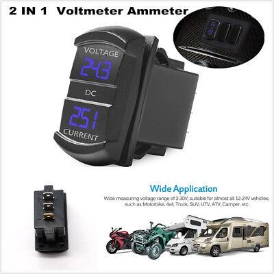 Blue LED Cllena Digital Multimeter Current Tester /& Voltage Tester for Boat Marine Vehicle Motorcycle Truck ATV UTV Car Camper LED Round Panel