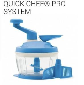 Goede Tupperware Quick Chef Pro Food Processor Chopper System Blue New CA-78