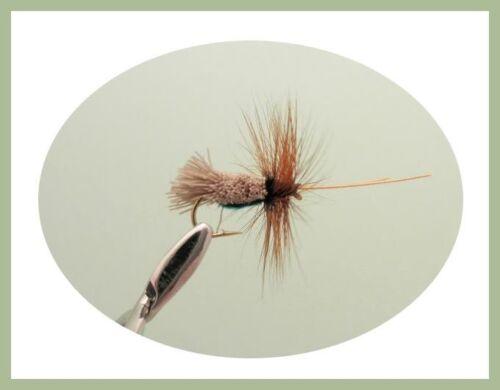 Fishing Flies SF2Q Size 10 Hook 6 Varieties Sedge Dry Trout Flies 18 Pack