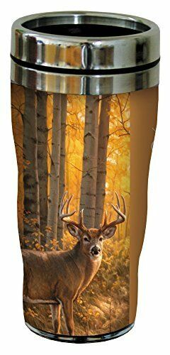 Gift fo White Tailed Deer Travel Mug Stainless Lined Coffee Tumbler 16-Ounce