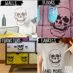 Skull Stencil Reusable Home Decor Art Craft airbrush Paint Ideal Stencils Ltd