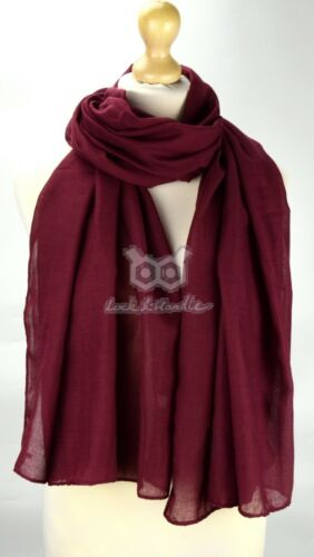 Top Quality Cotton Large Plain Scarf Hijab Shawl Sarong Wrap Maxi Big Long Warm