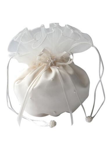 Ivory HBH Brautmoden Brauthandtasche aus Satin mit Perlen,Farbe Weiss,Schwarz