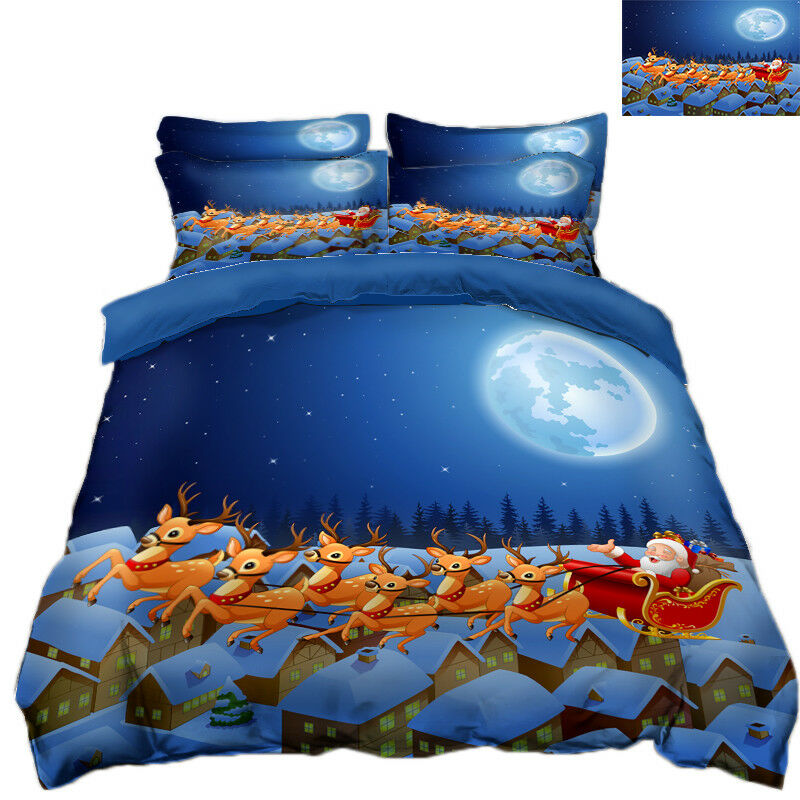 3D Christmas Xmas Night 77 Bed Pillowcases Quilt Duvet Cover Set Single Queen UK