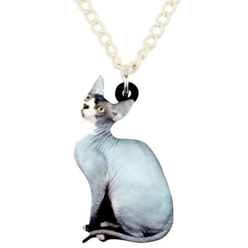 Acrylique Sans Poils sphynx chat collier pendentif Fashion Bijoux Pour Femmes Enfant Cadeaux