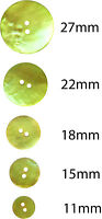 6 x Lemon & Lime Akoya Mother Of Pearl Buttons: 11,15,18,22,27mm, Yellow, Green
