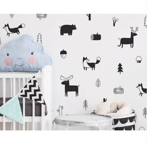 Details About Nordic Style Forest Animal Wall Decals Nursery Vinyl Art Stickers Rome Decor S