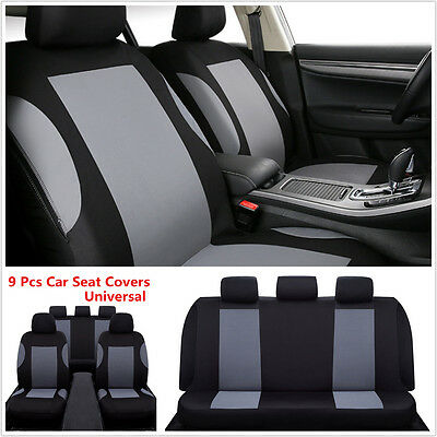 Car Seat Covers Gray Black Polyester Cloth Front Rear Headrests Bench 9pcs Ebay