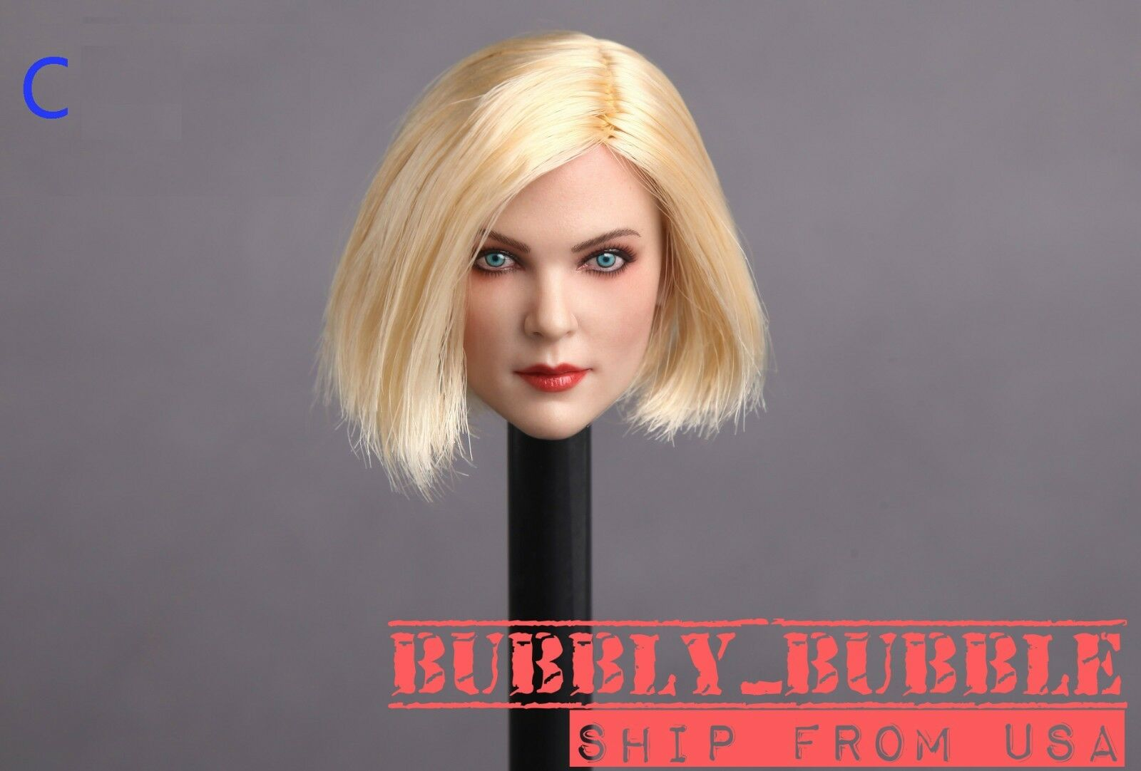1 6 Female Head Sculpt C BLONDE HAIR For PHICEN Hot Toys Figure SHIP FROM USA
