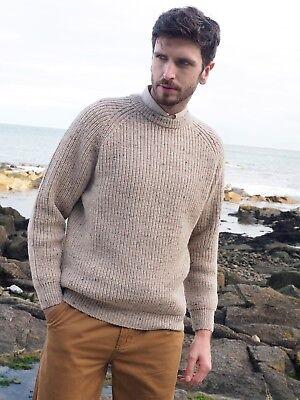 Fishermans Crew Neck Wool Rib Aran Sweater c761 Made in Ireland by Aran Crafts