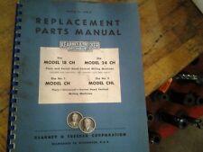 Kearney Amp Trecker Milwaukee Model Ch Chl 18 Amp 24 Milling Machines Part Manual