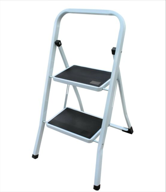 Remarkable Stepladder New Foldable 2 Step Ladder Non Slip Tread Safety Steel Step Gmtry Best Dining Table And Chair Ideas Images Gmtryco