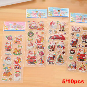 5-10-Sheets-Santa-Claus-3D-Bubble-Sticker-Notebook-Decoration-Puffy-Sticker