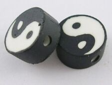 10 Yin Yang Blanco Y Negro Arcilla Polimérica Redonda Plana De 10 Mm De Perlas. (box61)