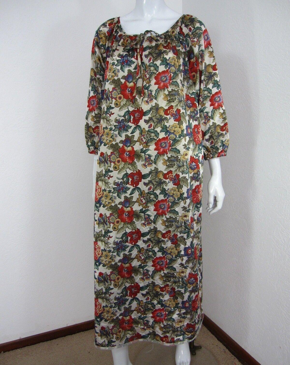 VILLAGE FAIR VINTAGE 1980'S SHORT SLEEVE DRESS Größe 34-40 MULTICOLGoldt FLORAL