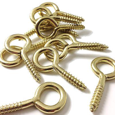 12mm x 1mm BRASS PLATED SCREW EYES - MULTIPLE PACK SIZES - EYE / HOOKS / SCREWS