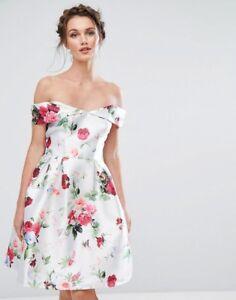 Chi-Chi-London-Bardot-Midi-Dress-in-Bright-Floral-Print-UK-8