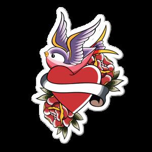 Details about  /Sparrow Heart Vinyl Sticker Tattoo Americana Decal