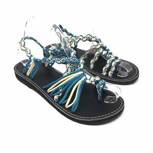 Zu Flip Seil Blau Zehentrenner Neu Damen Sandalen Flops Türkis Details Gr40 Halbschuhe xCWderoB